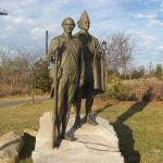 "Carolinas Settler Thomas ""Kanawha"" Spratt and  Catawba Chief King Hagler  by Chas Fagan on the Little Sugar Creek Greenway near 7th St."